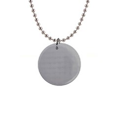Classic Vintage Black And White Houndstooth Pattern 1  Button Necklace by Beachlux
