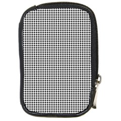 Classic Vintage Black And White Houndstooth Pattern Compact Camera Leather Case by Beachlux