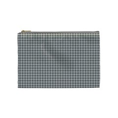 Classic Vintage Black And White Houndstooth Pattern Cosmetic Bag (medium) by Beachlux