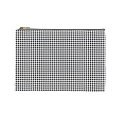 Classic Vintage Black And White Houndstooth Pattern Cosmetic Bag (large) by Beachlux