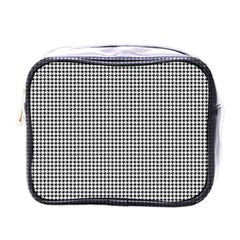 Classic Vintage Black And White Houndstooth Pattern Mini Toiletries Bag (one Side) by Beachlux