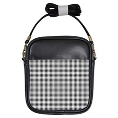 Classic Vintage Black And White Houndstooth Pattern Girls Sling Bag by Beachlux