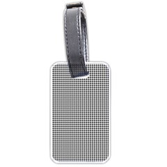 Classic Vintage Black And White Houndstooth Pattern Luggage Tag (two Sides) by Beachlux
