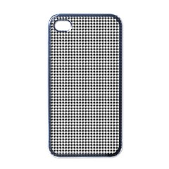 Classic Vintage Black And White Houndstooth Pattern Apple Iphone 4 Case (black) by Beachlux