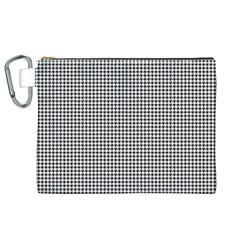 Classic Vintage Black And White Houndstooth Pattern Canvas Cosmetic Bag (xl) by Beachlux