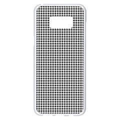 Classic Vintage Black And White Houndstooth Pattern Samsung Galaxy S8 Plus White Seamless Case by Beachlux
