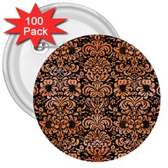 Damask2 Black Marble & Orange Watercolor (r) 3  Buttons (100 Pack)  by trendistuff