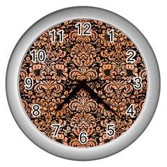 Damask2 Black Marble & Orange Watercolor (r) Wall Clocks (silver)  by trendistuff
