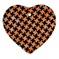 Houndstooth2 Black Marble & Orange Watercolor Heart Ornament (two Sides) by trendistuff