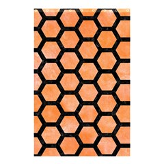 Hexagon2 Black Marble & Orange Watercolor Shower Curtain 48  X 72  (small)  by trendistuff