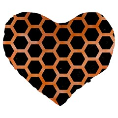 Hexagon2 Black Marble & Orange Watercolor (r) Large 19  Premium Flano Heart Shape Cushions by trendistuff