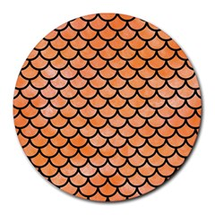 Scales1 Black Marble & Orange Watercolor Round Mousepads by trendistuff
