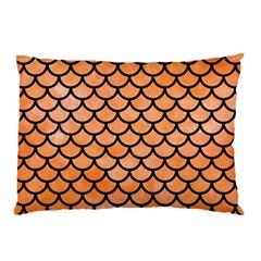 Scales1 Black Marble & Orange Watercolor Pillow Case by trendistuff
