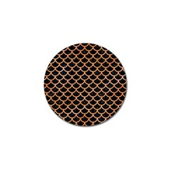 Scales1 Black Marble & Orange Watercolor (r) Golf Ball Marker by trendistuff