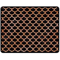 Scales1 Black Marble & Orange Watercolor (r) Fleece Blanket (medium)  by trendistuff