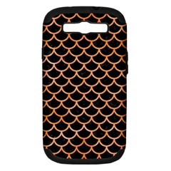 Scales1 Black Marble & Orange Watercolor (r) Samsung Galaxy S Iii Hardshell Case (pc+silicone) by trendistuff