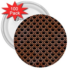 Scales2 Black Marble & Orange Watercolor (r) 3  Buttons (100 Pack)  by trendistuff