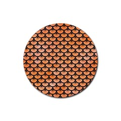Scales3 Black Marble & Orange Watercolor Rubber Coaster (round)  by trendistuff
