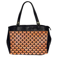 Scales3 Black Marble & Orange Watercolor Office Handbags (2 Sides)  by trendistuff