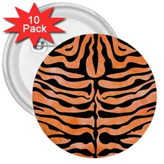 Skin2 Black Marble & Orange Watercolor 3  Buttons (10 Pack)  by trendistuff
