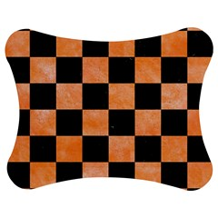 Square1 Black Marble & Orange Watercolor Jigsaw Puzzle Photo Stand (bow) by trendistuff