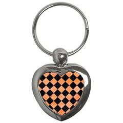 Square2 Black Marble & Orange Watercolor Key Chains (heart)  by trendistuff