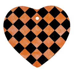 Square2 Black Marble & Orange Watercolor Heart Ornament (two Sides) by trendistuff