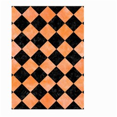 Square2 Black Marble & Orange Watercolor Large Garden Flag (two Sides) by trendistuff