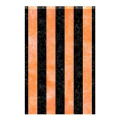 Stripes1 Black Marble & Orange Watercolor Shower Curtain 48  X 72  (small)  by trendistuff