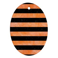 Stripes2 Black Marble & Orange Watercolor Ornament (oval) by trendistuff