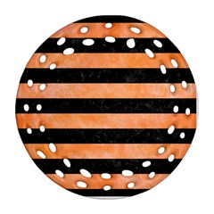 Stripes2 Black Marble & Orange Watercolor Ornament (round Filigree) by trendistuff