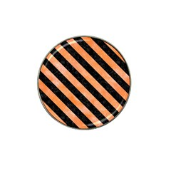 Stripes3 Black Marble & Orange Watercolor Hat Clip Ball Marker by trendistuff