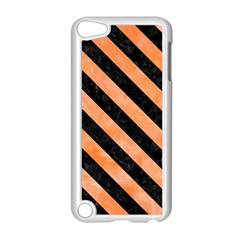 Stripes3 Black Marble & Orange Watercolor Apple Ipod Touch 5 Case (white) by trendistuff