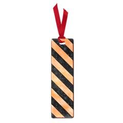 Stripes3 Black Marble & Orange Watercolor Small Book Marks by trendistuff