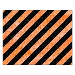 Stripes3 Black Marble & Orange Watercolor (r) Rectangular Jigsaw Puzzl by trendistuff