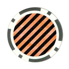 Stripes3 Black Marble & Orange Watercolor (r) Poker Chip Card Guard (10 Pack) by trendistuff
