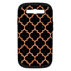Tile1 Black Marble & Orange Watercolor (r) Samsung Galaxy S Iii Hardshell Case (pc+silicone) by trendistuff
