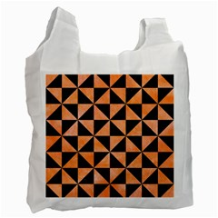 Triangle1 Black Marble & Orange Watercolor Recycle Bag (one Side) by trendistuff