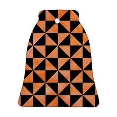 Triangle1 Black Marble & Orange Watercolor Bell Ornament (two Sides) by trendistuff