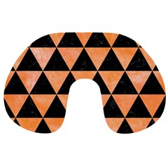 Triangle3 Black Marble & Orange Watercolor Travel Neck Pillows by trendistuff