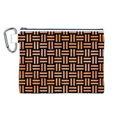 Woven1 Black Marble & Orange Watercolor (r) Canvas Cosmetic Bag (l) by trendistuff