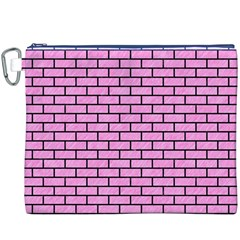 Brick1 Black Marble & Pink Colored Pencil Canvas Cosmetic Bag (xxxl) by trendistuff