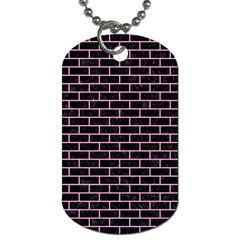 Brick1 Black Marble & Pink Colored Pencil (r) Dog Tag (one Side) by trendistuff