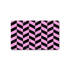 Chevron1 Black Marble & Pink Colored Pencil Magnet (name Card) by trendistuff