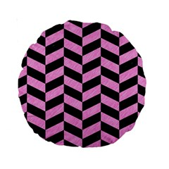 Chevron1 Black Marble & Pink Colored Pencil Standard 15  Premium Round Cushions by trendistuff