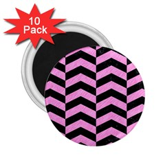 Chevron2 Black Marble & Pink Colored Pencil 2 25  Magnets (10 Pack)  by trendistuff
