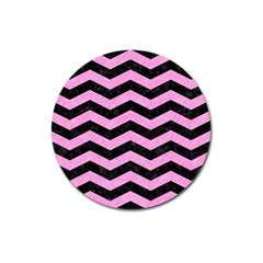 Chevron3 Black Marble & Pink Colored Pencil Magnet 3  (round) by trendistuff