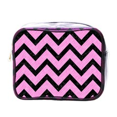 Chevron9 Black Marble & Pink Colored Pencil Mini Toiletries Bags by trendistuff