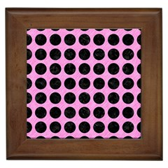 Circles1 Black Marble & Pink Colored Pencil Framed Tiles by trendistuff