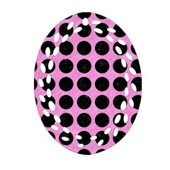 Circles1 Black Marble & Pink Colored Pencil Ornament (oval Filigree) by trendistuff